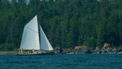 Enjoying a sail on Gypsy M close along the shores of Drummond Island.