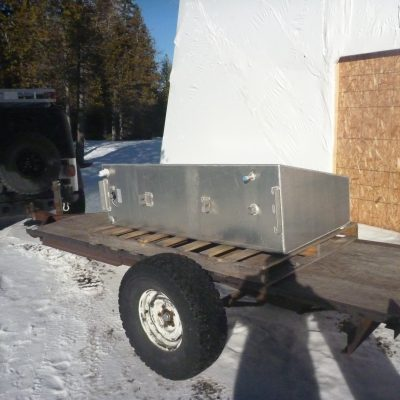 One of two 175 gallon fuel tanks arriving at Schooner House.