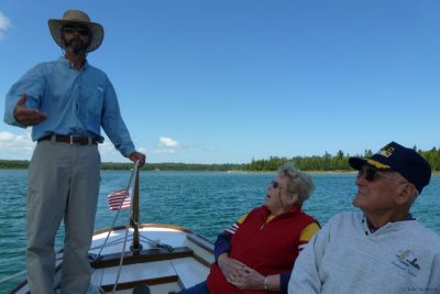 Capt Hugh educating passengers about the Great Lakes.