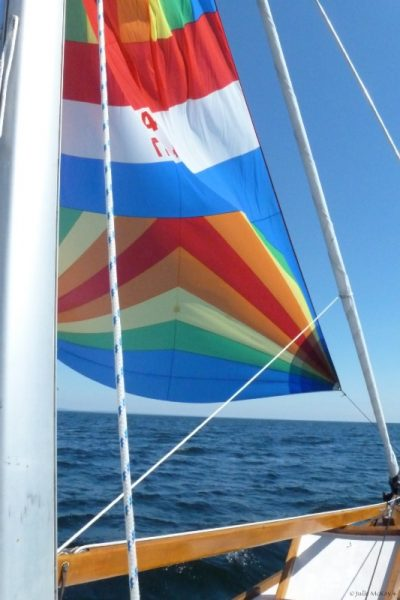 Spinnaker colors flying.