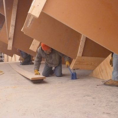 Placing a set of rollers under the schooner.