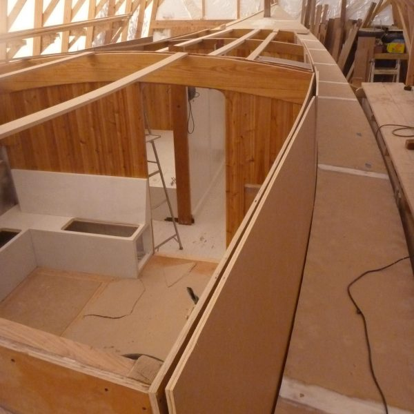 Two layers of medium density overlay plywood are fitted for the cabin sides.