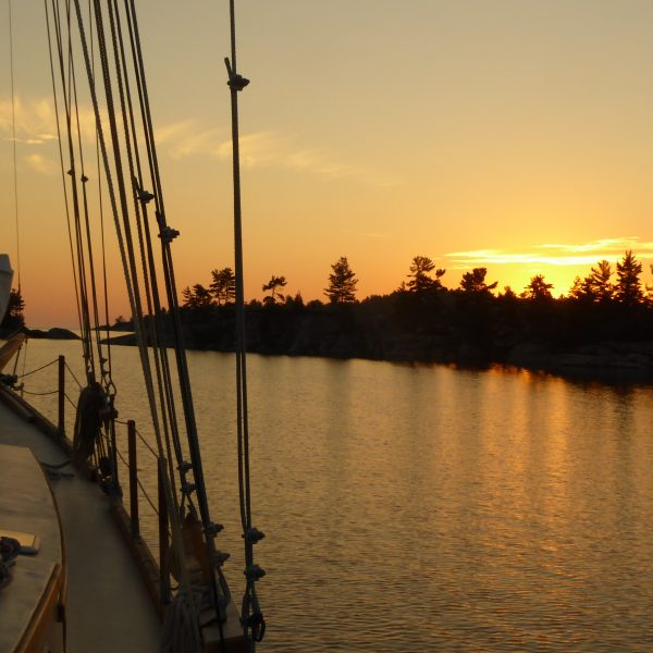 A glorious sunset at anchor in Bear Drop Harbor in the North Channel.