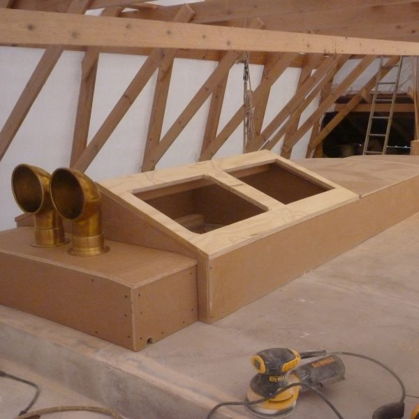 The ventilators on the dorade box and skylight.
